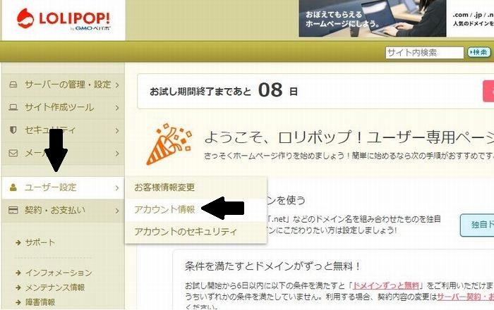 ユーザー設定にカーソルを合わせ、アカウント情報をクリック