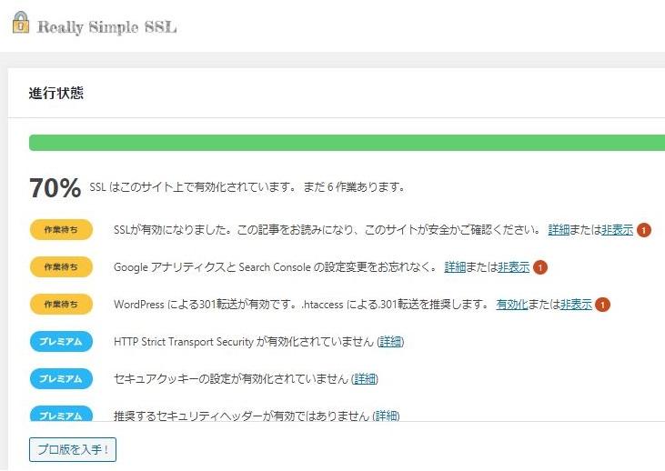 Really Simple SSLの設定進行表示